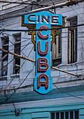 Advertisement for a cinema in Santiago de Cuba, Cuba