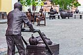 Several statues at Plaza del Carmen in Camagüey, Cuba