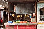 Kenianer am Obst- und Gemüsestand im Slum, Eastleigh, Nairobi, Kenia