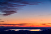 Morgenrot over Chiemsee, from Lacherspitz, Mangfallgebirge, Bavarian Alps, Upper Bavaria, Bavaria, Germany