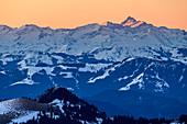 Hohe Tauern with Großglockner in the first light, from Lacherspitz, Mangfallgebirge, Bavarian Alps, Upper Bavaria, Bavaria, Germany