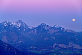 Full moon over the Wendelstein group, from the Hochries, Chiemgau Alps, Upper Bavaria, Bavaria, Germany