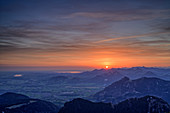 Sunrise over Inntal, Simssee, Chiemsee and Chiemgau Alps, from Wendelstein area, Mangfall Mountains, Bavarian Alps, Upper Bavaria, Bavaria, Germany