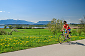 Woman cycling with Chiemsee and Kampenwand in the background, Chiemseeradweg, Chiemgau, Upper Bavaria, Bavaria, Germany
