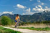 Woman cycling on the Chiemseeradweg, Hochgern in the background, Chiemseeradweg, Chiemgau, Upper Bavaria, Bavaria, Germany