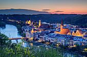 View of illuminated city Wasserburg am Inn, Wasserburg, Benediktradweg, Upper Bavaria, Bavaria, Germany