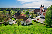 View of Au am Inn monastery, Au, Benediktradweg, Upper Bavaria, Bavaria, Germany