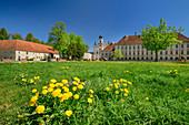 Raitenhaslach Abbey, Benediktradweg, Upper Bavaria, Bavaria, Germany