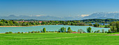 Panorama with Tachinger and Waginger See with Dachstein and Tennengebirge in the background, Tachinger See, Benediktradweg, Upper Bavaria, Bavaria, Germany
