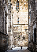 Catalans walks through the Gothic Quarter of Barcelona, Spain