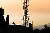 Enjoying the sunset together at Montujic, Barcelona, Spain