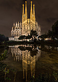 View of the illuminated Sagrada Familia in Barcelona, Spain