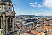 View from the observation deck of St. Stephen's Basilica to the parliament building in Budapest, Hungary