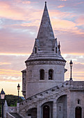 Sunset over the towers of the Fisherman's Bastion in Budapest, Hungary