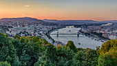 Panoramic view of the city and Danube from Gellert Hill in Budapest, Hungary