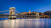 View of the Chain Bridge and the Castle Palace in Budapest, Hungary