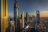 View of the futuristic buildings and Sheikh Zayed Road in Dubai, UAE