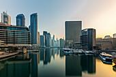 Shortly after sunrise in the Dubai Marina in Dubai, UAE
