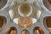Ornate ceiling lamp in the Sheikh Zayed Grand Mosque in Abu Dhabi, UAE