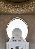 View of the dome of the Sheikh Zayed Grand Mosque in Abu Dhabi, UAE