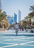 Cycling the Abu Dhabi Corniche, UAE