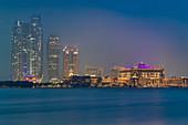 The illuminated Emirates Palace in Abu Dhabi, UAE