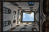 View of the sky from the courtyard of the Palazzo Vecchio in Florence, Italy