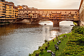 Sunset over the Ponte Vecchio in Florence, Italy