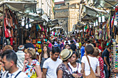 Tourists at the Mercato Centralo in Florence, Italy
