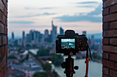 Camera photographs the skyline of Frankfurt, Germany
