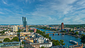 Nice view of the Main river and the European Central Bank in Frankfurt, Germany