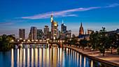 The illuminated skyline of Frankfurt, Germany