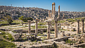 On the Citadel Hill with a view of the Temple of Hercules and the city in the background, Amman, Jordan