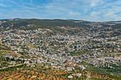 Top view of the city of Ajloun, Jordan