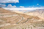 Beautiful view of the Kings Highway in Wadi Mujib in Jordan