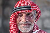 Portrait of a shepherd in the hills of Shoubak in Jordan