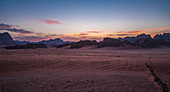 Sunset over the Wadi Rum desert in Jordan