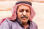 Portrait of a Bedouin in the Wadi Rum desert in Jordan