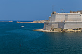 View of the fortress at the port of Senglea, Malta