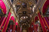 Inside the St. George's Basilica in Victoria, Gozo, Malta