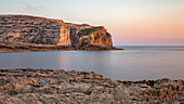 View of Fungus Rock during sunset, San Lawrenz, Gozo, Malta