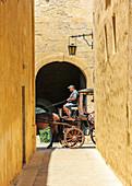 Coachman drives tourists through the streets of Mdina, Malta