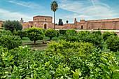 The gardens at El Badi Palace in Marrakech, Morocco