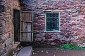 Entrance door to the house of a Berber family in the Atlas Mountains in Morocco