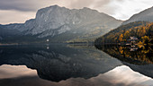 Autumn starts early in the morning in Altaussee, Austria