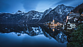 Shortly after sunset in Hallstatt, Austria