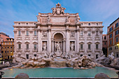 Early in the morning at the Fontana di Trevi in Rome, Italy