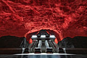 Artistically decorated Metro Station in the tunnel bana of Stockholm, Sweden