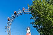 View of the historic ferris wheel in the Vienna Prater, Vienna, Austria