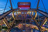 The ferris wheel over the illuminated Prater in Vienna, Austria